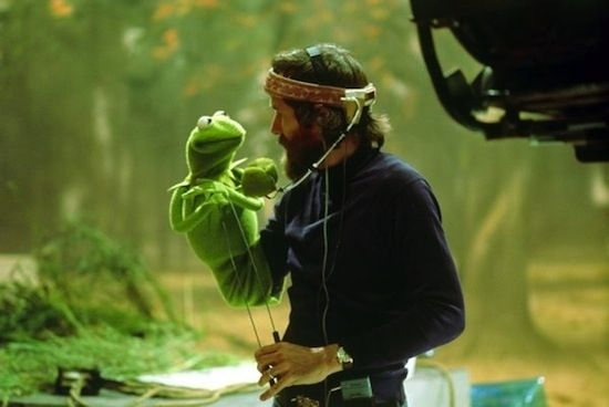 Jim Hensen, with his creation Kermit the frog.