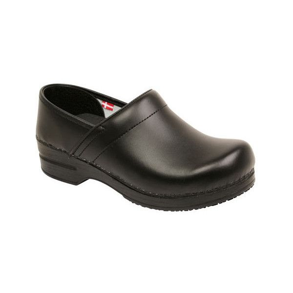 Women's Sanita Clogs Smart Step Professional Aubrey (£90) ❤ liked on Polyvore featuring shoes, clogs, black, casual, orthopedic shoes, black slip-on shoes, slip on slip resistant shoes, traction shoes, round cap and black clogs