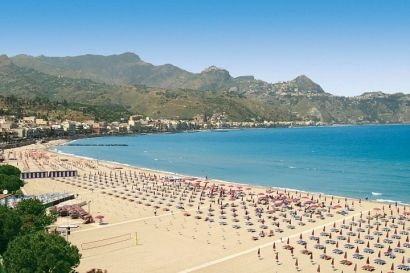 Giardini-Naxos beach, Sicily, Italy! Amazing beach, great Italian snacks, and beautiful weather!