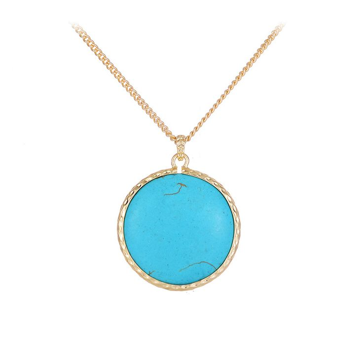 Stylish Fashion Natural Stone Gold Silver Plated Long Chain Three Color Blue Stone Beads Pendant Necklace  for Women #Affiliate