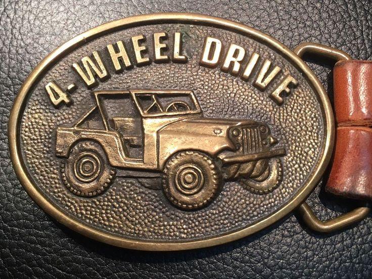 4 Wheel Drive Jeep Vintage Solid Brass Belt Buckle W/ Leather Belt ~USA~4x4    eBay
