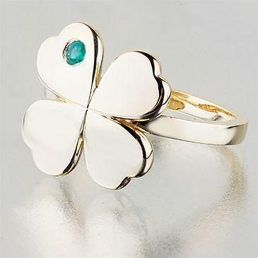 Кольцо Клевер четырехлистный с изумрудом из желтого золота,артикул klever_y_i