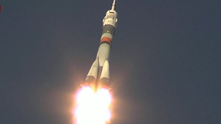 The rocket carrying Briton Tim Peake on a landmark flight to International Space Station launches from Kazakhstan.