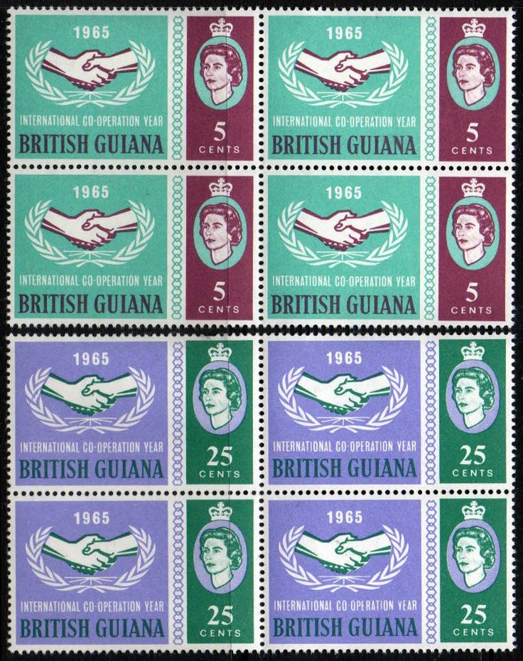 Postage Stamps of British Guiana 1965 International Co-operation Year Set Fine Mint SG 372 3 Scott 295 6 Other British Guina Stamps HERE