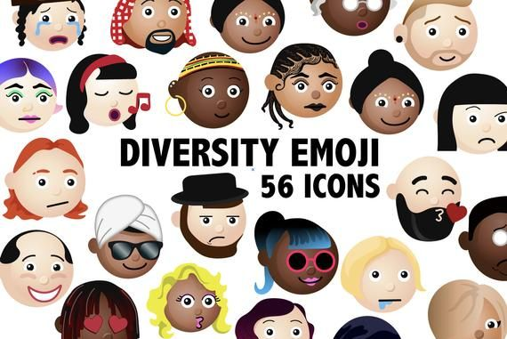 Diversity Characters Clipart Faces Emoji Printable Around Etsy Clip Art Homemade Invitations People Icon