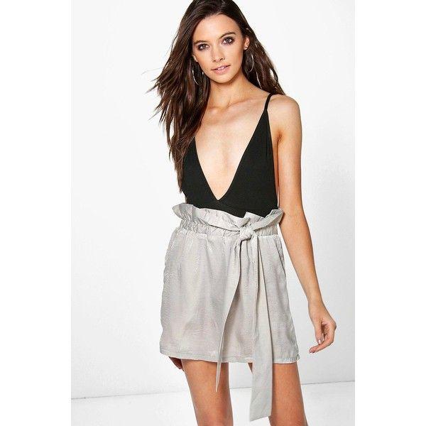 Boohoo Honor Tie Waist Satin Mini Skirt ($12) ❤ liked on Polyvore featuring skirts, mini skirts, grey, short maxi skirt, grey maxi skirts, midi skirt, gray mini skirt and pleated skirt