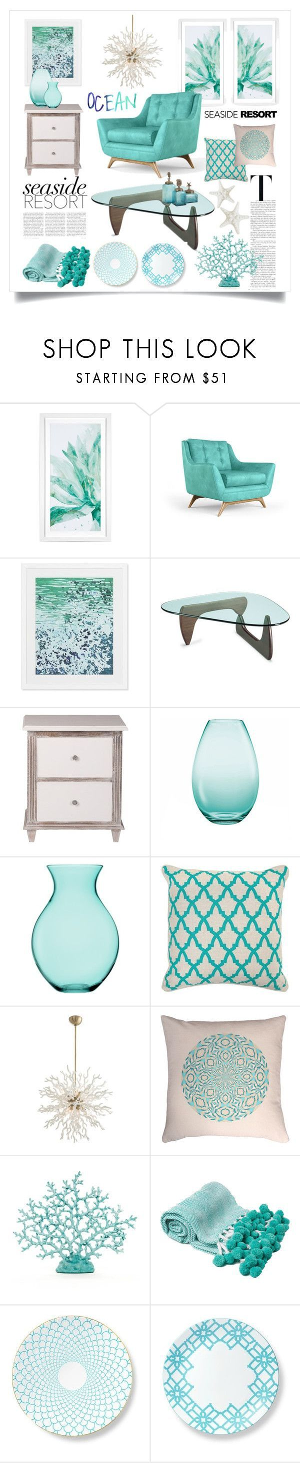 """Seaside Resort"" by miss-image ❤ liked on Polyvore featuring interior, interiors, interior design, home, home decor, interior decorating, Joybird Furniture, Williams-Sonoma, Holmegaard and LSA International"