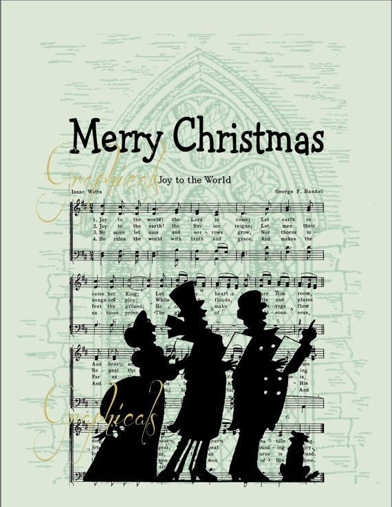Joy to the World carolers printable with 3 backgrounds - green and white. Download for arts and ...