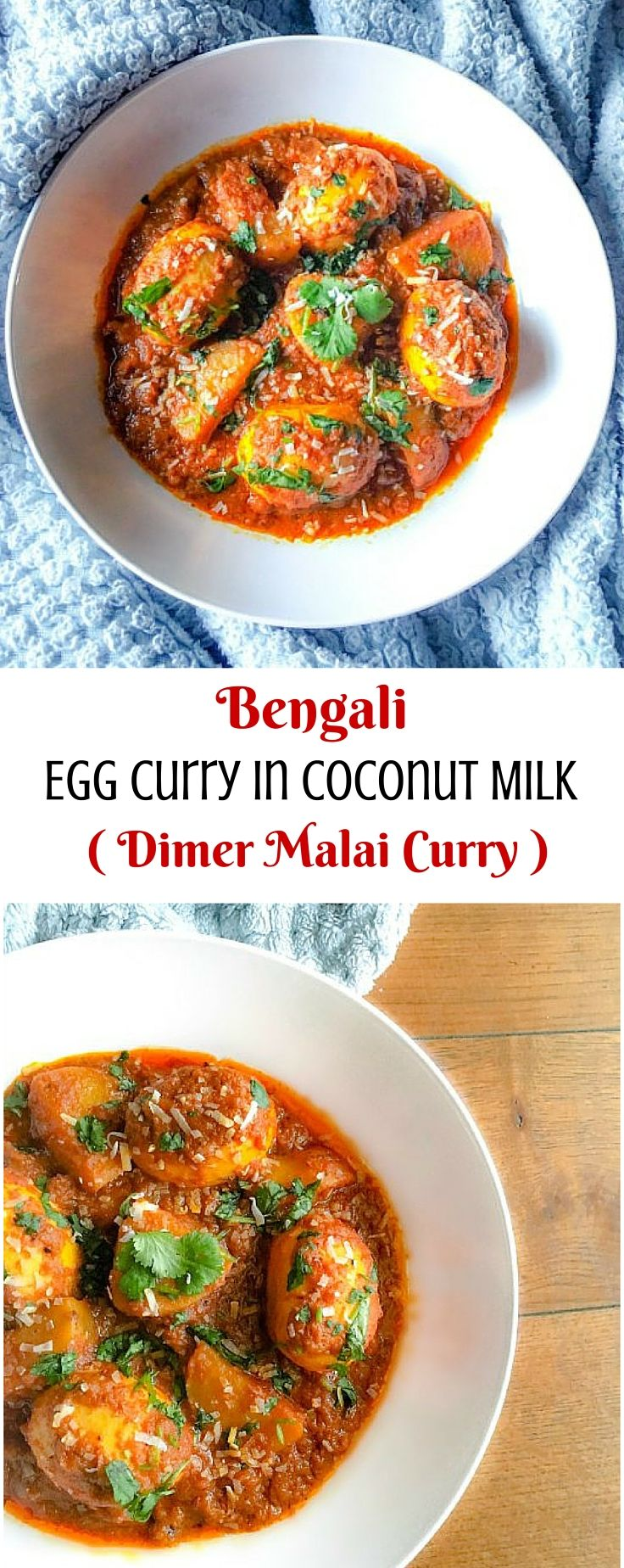 Bengali Egg Curry in Coconut Milk (Dimer Malai Curry) : #recipes #bengali #egg #curry #glutenfree #coconut