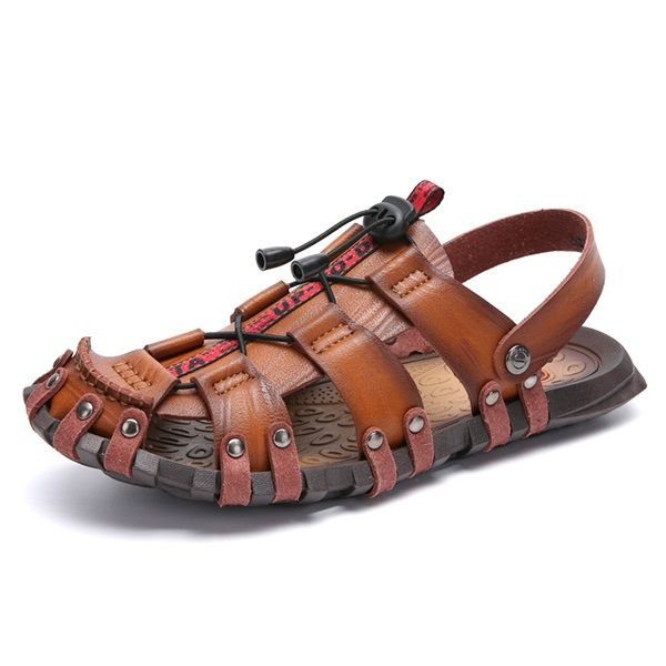 Men/'s Casual Handmade Sandals Hiking Camping Leather Fisherman Non-slip Shoes