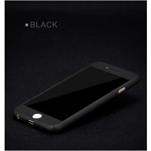 Carcasa Iphone 7 Plus, Culoare Gold, Plastic + Sticla Temperata, Ultraslim,Protectie spate si laterale