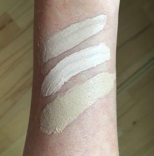 Top to bottom; Tarte Shape Tape in Light – Tarte Shape Tape in Fair Beige – Tarte Amazonian Clay foundation in Fair Beige