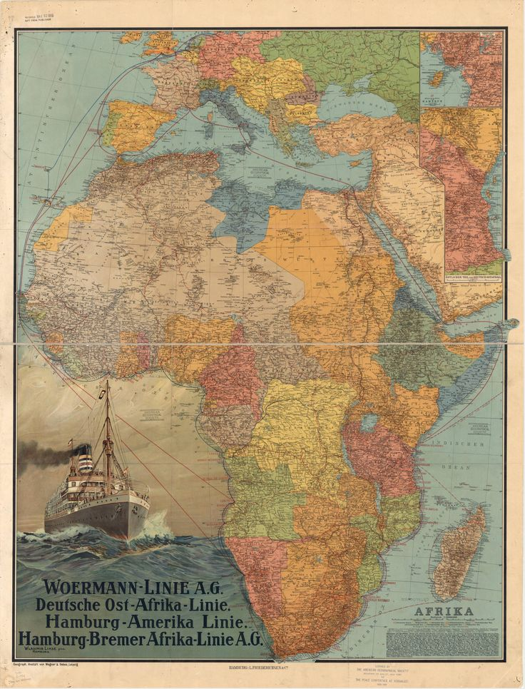 Beautifully colored map of Africa in 1914