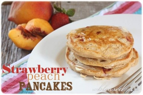 Delicious Strawberry-Peach Pancakes