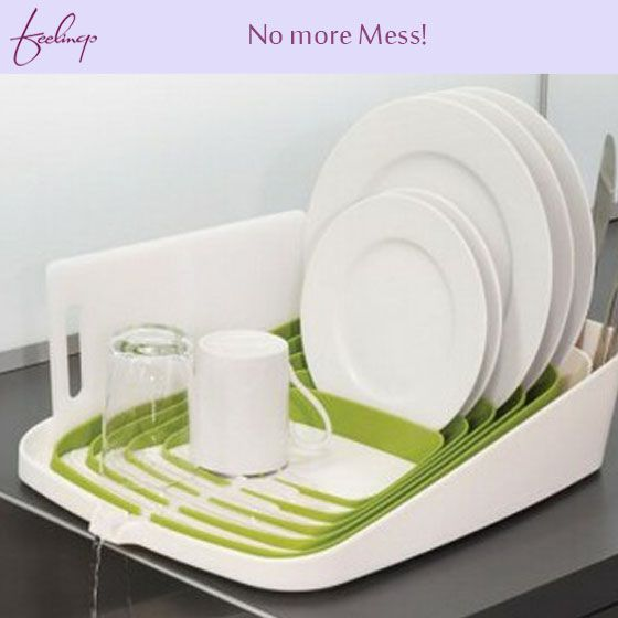 No more mess on the kitchen slabs! This dish drainer is easily accessible and will drain all the water from the dishes into the sink. #kitchen #hacks