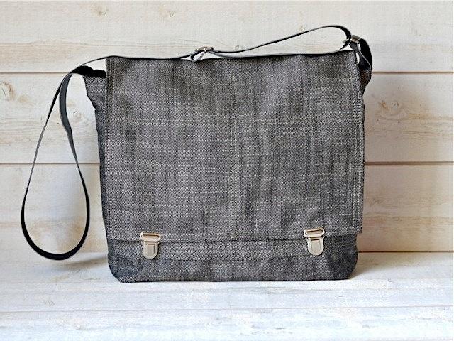 Waterproof  messenger bag in  black ecru linen / Ready to ship. $98.00, via Etsy.