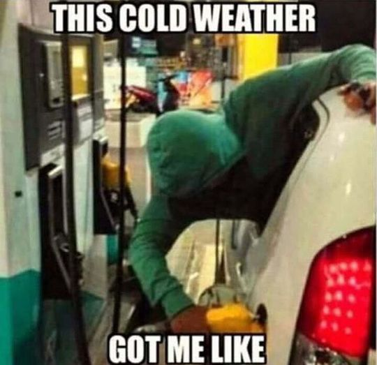 this cold weather got me like,hanging out back window of car to pump gas,humor,freezing, meme