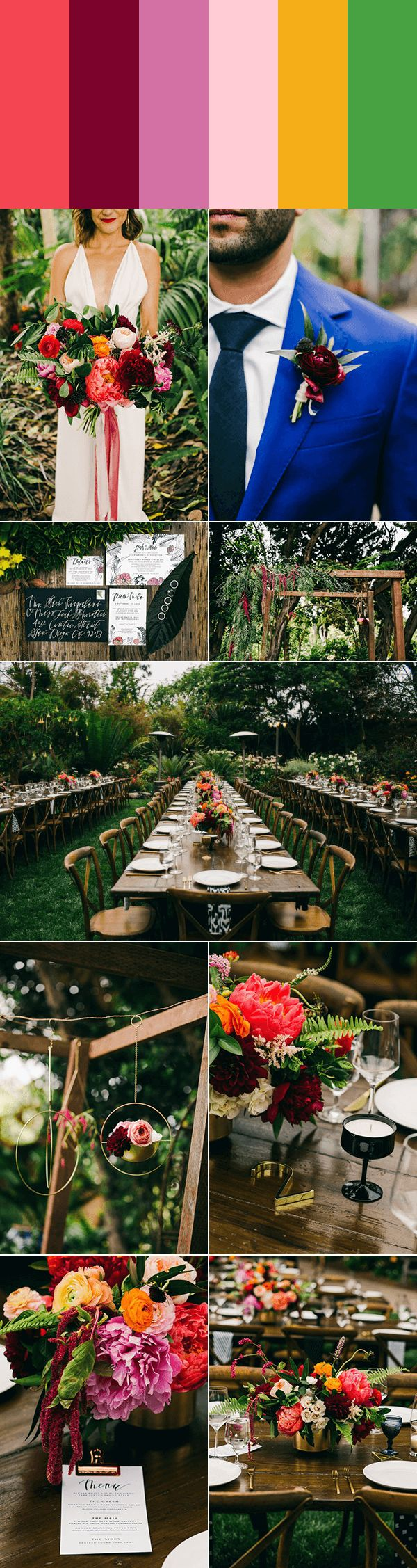 Various shades of pinks and purples with apricot and fern accents | Images by Hannah Costello