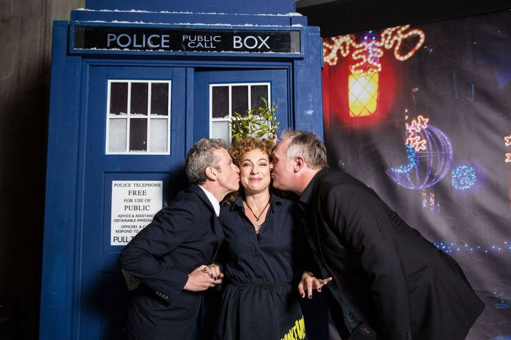 Peter Capaldi, Alex Kingston and Greg Davies at a photo call for Doctor Who's 'The Husbands of River Song' Christmas special episode. Lucky lady.