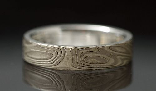 Mokume Gane sterling silver and 14 kt palladium white gold etched men's ring