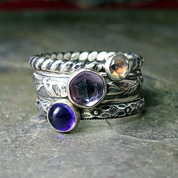 French Lavender - Set of 3 stacking rings with rose cut light amethyst, dark amethyst, and rose cut rainbow moonstone    ...from LavenderCottage on Etsy