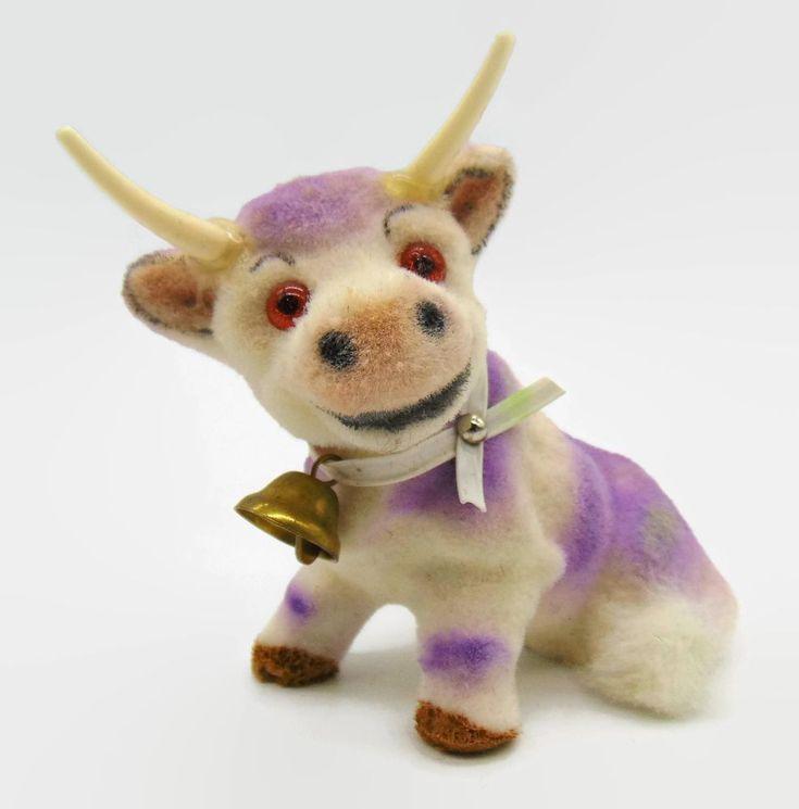 Wagner Kunstlerschutz Sitting Milka Cow Animal Vintage German Toy Figure Purple #WagnerKunstlerschutz
