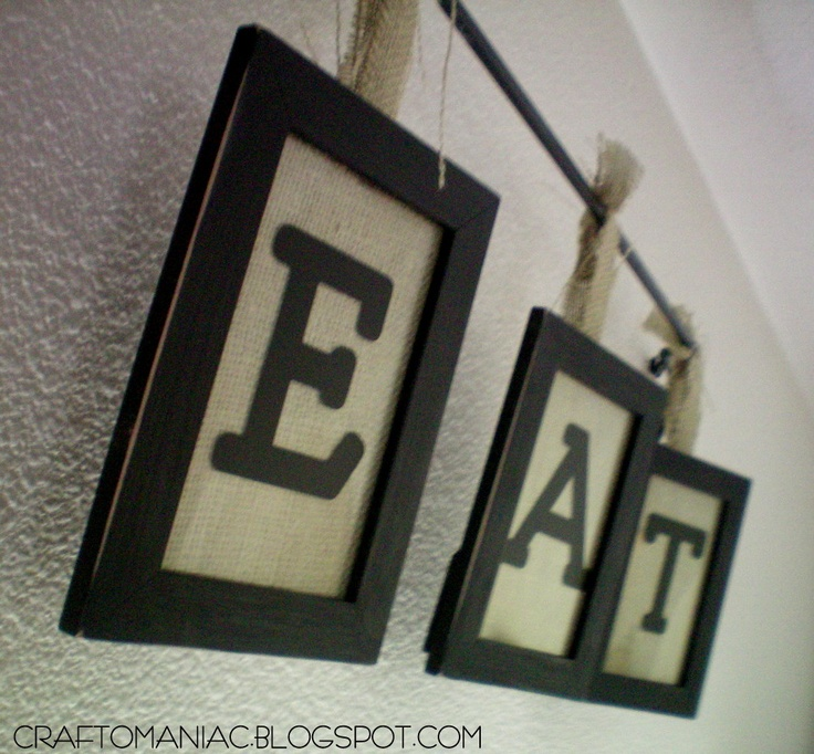 Hello there~ this is what I worked on this afternoon~  MY HANGING BURLAP   EAT  sign  I went thrifting and found a cute black rod iron pole  . & 15 best EAT PRAY LOVE images on Pinterest | Kitchen ideas Kitchen ...