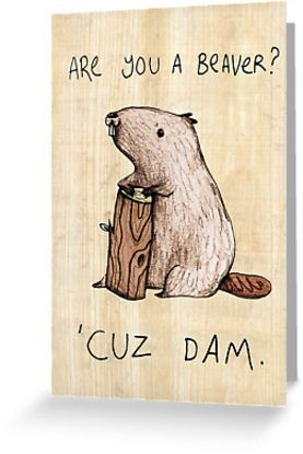 Are you a beaver? Greeting card by Sophie Corrigan