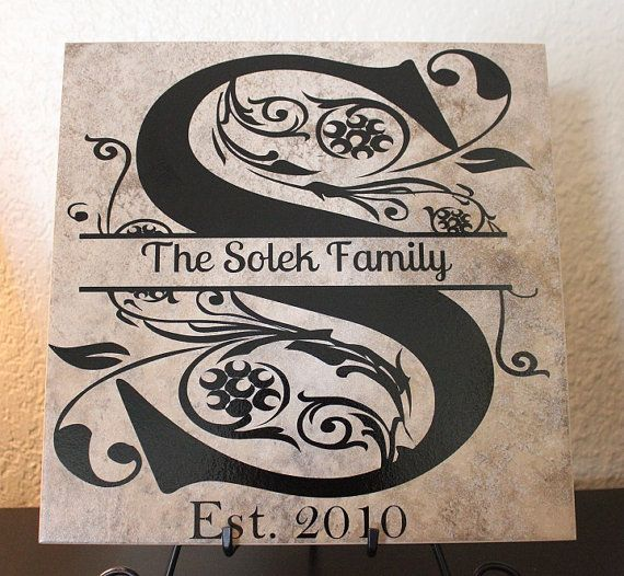 Custom Ceramic Tile 12x12 Family Name And Initial Tile