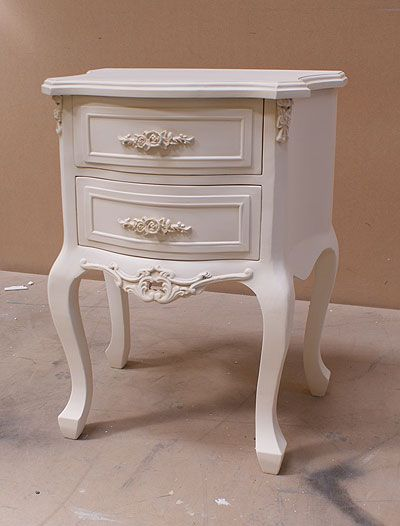 English Ivory Shabby Chic 2 Drawer Bedside Table