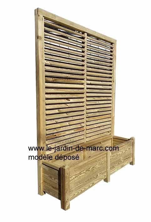 Jardini re bois avec treillis 120x40 hauteur 180cm trait for Bac fleur exterieur pas cher