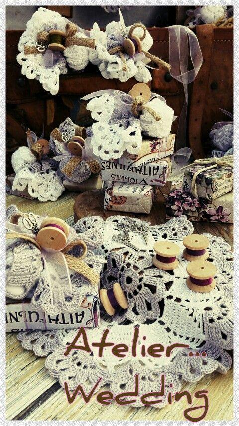 Soaps,wooden spools,scissors charms & beatiful crochet!ATELIER