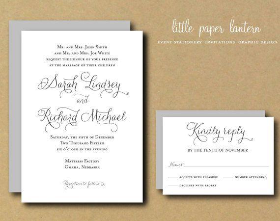 Printable Wedding Invitation Template   Custom DIY Wedding Invitation Suite    Sweet Amor