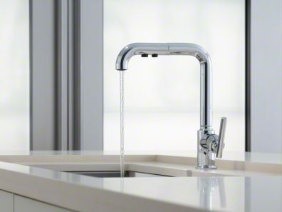 Purist Faucet by Kohler - Designed to accommodate extra-thick counters, this Purist kitchen faucet combines minimalist style and simple-to-use features. Featuring a single lever handle, the high-arch swing spout includes a pullout sprayhead with two flow options and pause function to make kitchen tasks easier.