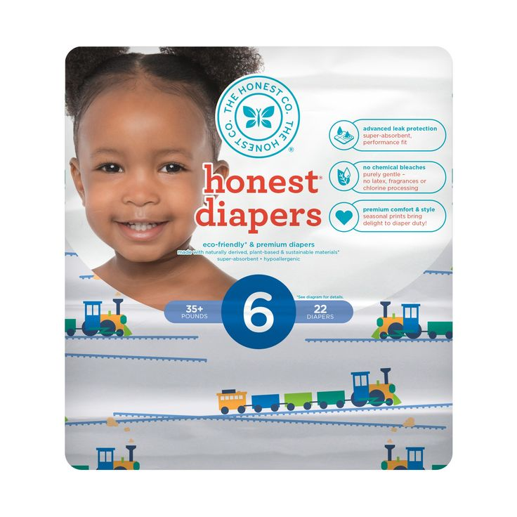 Honest Company Diapers, Trains - Size 6 (22ct)