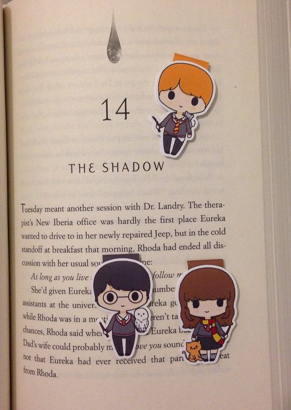 These adorable bookmarks featuring the trio and their pets: