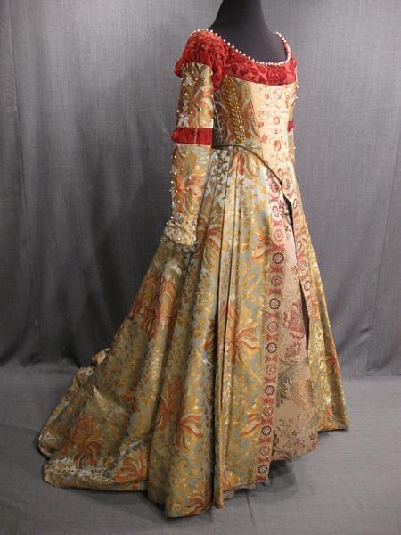 09023819 09017333 09000554 Gown Renaissance lt blue gold rust brocade B32 34 W25 27.JPG