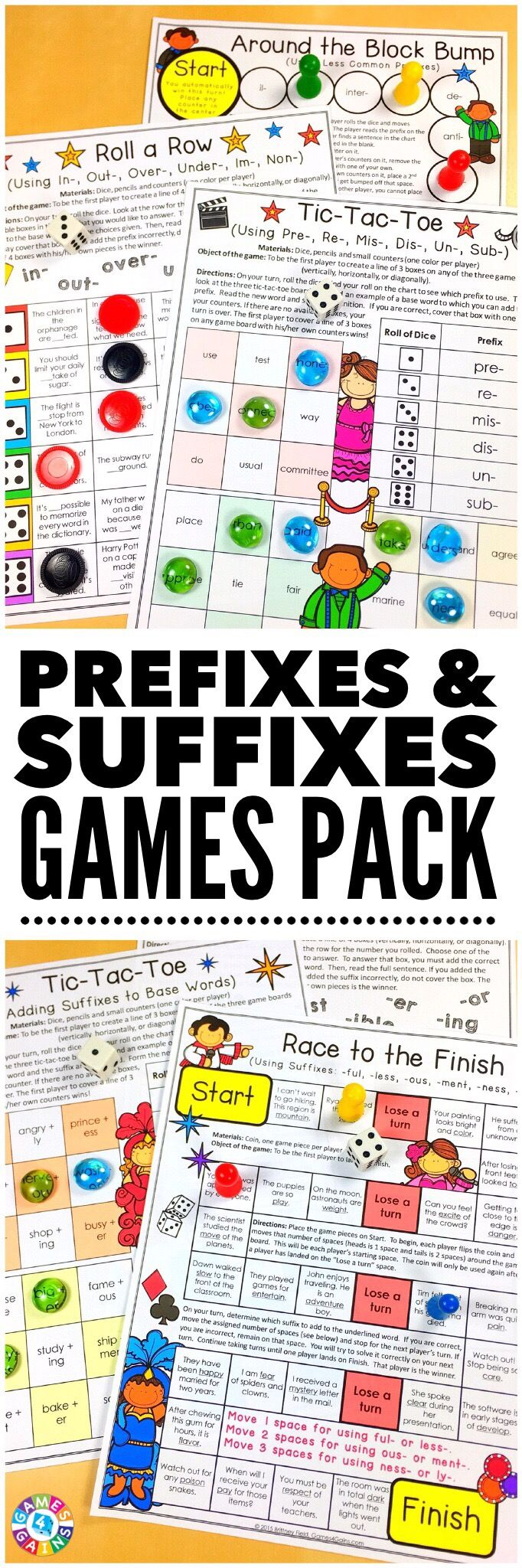 """LOVE these low-prep games! My students have so much fun playing them!"" This Prefixes and Suffixes Games Bundle contains 12 fun and engaging printable board games to help students to practice identifying, defining, and using prefixes and suffixes. These games are so simple to use and require very minimal prep. They are perfect to use in literacy centers or as extension activities when students complete their work!"