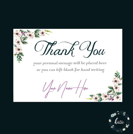 Custom thank you card, Floral thank you card, printable thank you, thank you note, personalized cards 026