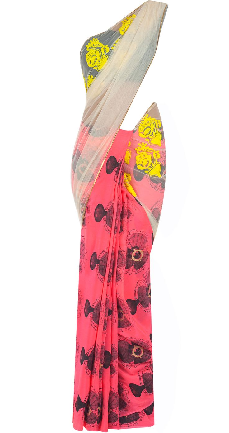 Coral pink and off white fan print sari