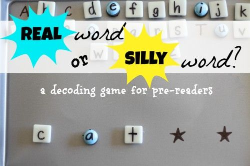 Real Word or Silly Word?  A decoding game for pre-readers!