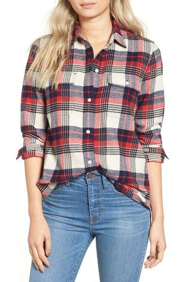 MADEWELL Ex Boyfriend Plaid Flannel Shirt. #madewell #cloth #
