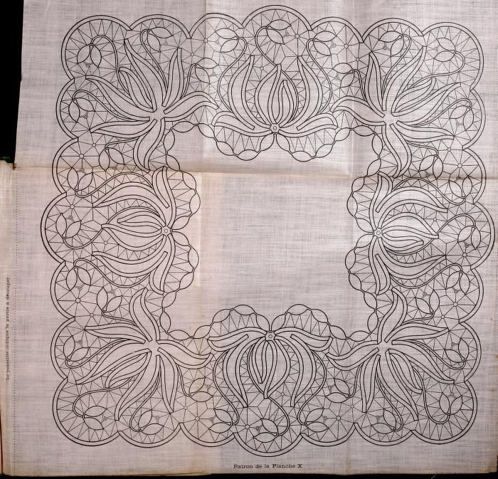Point Lace pattern from the book Le Dentelle Renaissance (Renaissance lace aka Tape Lace) by  Thérèse de Dillmont.  In the public domain.  This book had the patterns printed on linen cloth and attached in the book.