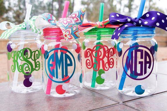Mason Jar Straw Tumbler - Personalized Mason Jar Cup - Acrylic - Bridesmaids Gift - Monogrammed Mason Jar