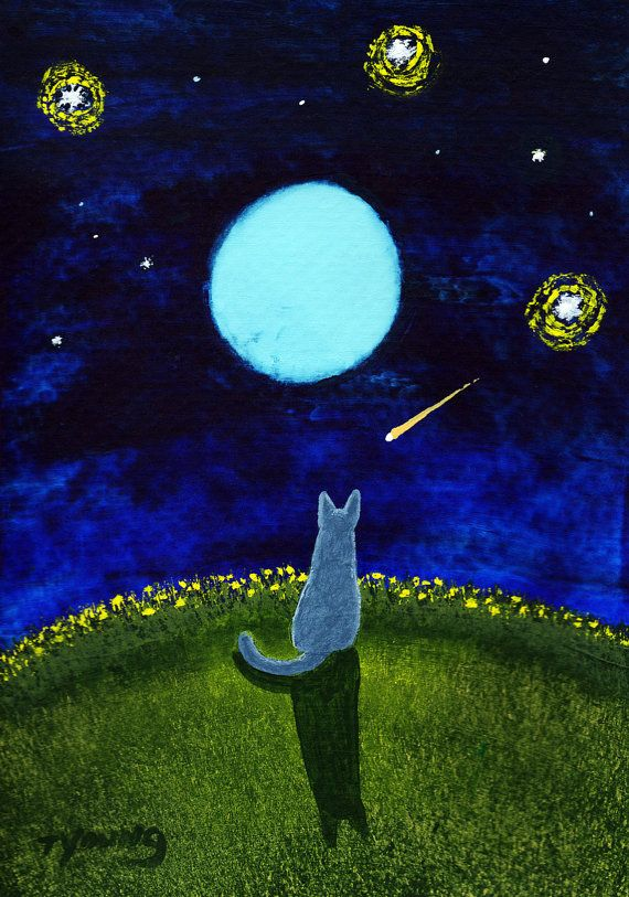 Russian Blue Cat Folk art print by Todd Young by ToddYoungArt, $13.50