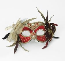 Party Mask - Flowers and Lace Red Velvet $149