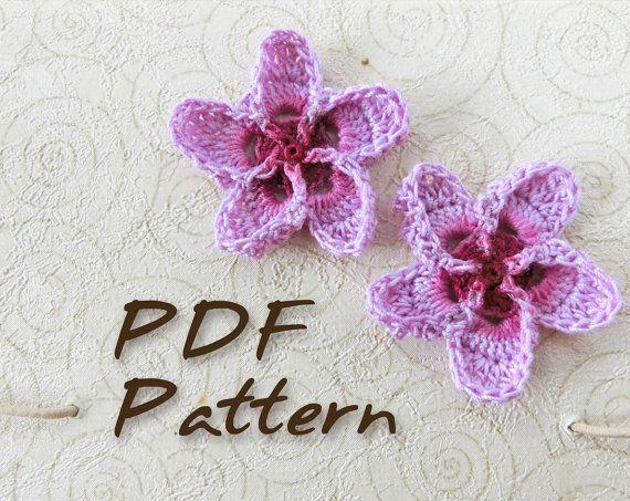 Crochet Hibiscus Flower Pattern Free : CROCHET PATTERN. Hawaiian Plumeria Flower. Wedding Crochet ...