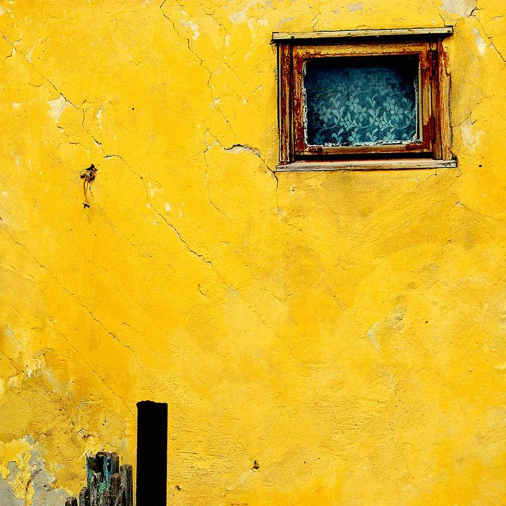yellow by ~incolorwetrust on deviantARTColors Flower, Yellow Wall, Little House, Plaster Wall, Blue Curtains, Windows, Yellow House, World Wonder, Bright Yellow