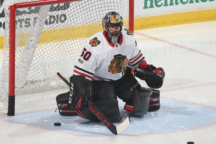 SUNRISE, FL - NOVEMBER 25: Goaltender Corey Crawford #50 of the Chicago Blackhawks warms up prior to the game against the Florida Panthers at the BB&T Center on November 25, 2017 in Sunrise, Florida. (Photo by Joel Auerbach/Getty Images)