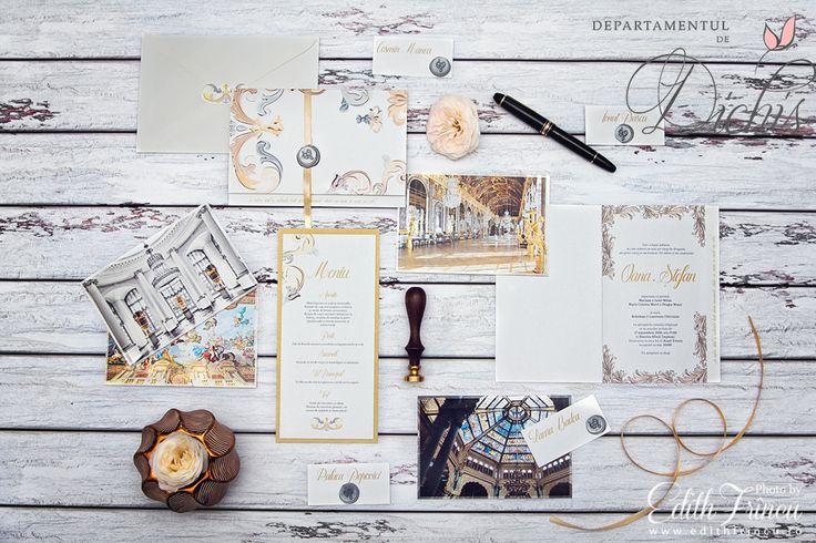 Gold glam wedding stationary inspiration. Charcoal grey with tones of gold and copper define this elegant, classy wedding invitation